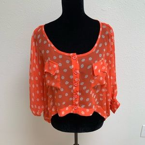 Free People Orange button down Cropped Top